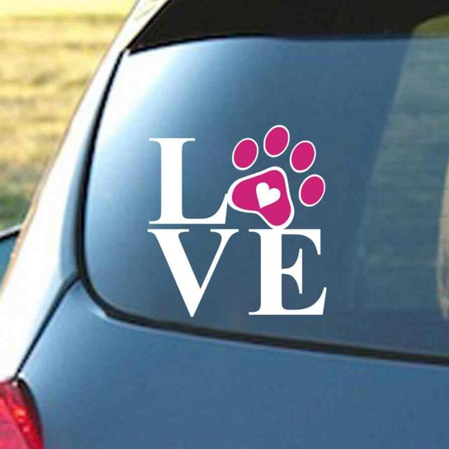 Xe Styling Tim Với Chó Paw Con Chó Con Tình Yêu Decal Window Tem xe tạo kiểu Bức Tường Phụ Kiện Xe Hơi Cho Bmw E46 Ford Focus 2 Kia