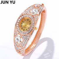 JUNYU 2016 Austrian Crystal Watches For Women Fashion Quartz Wristwatches 18K Gold Plated Bracelet Bangle Watches