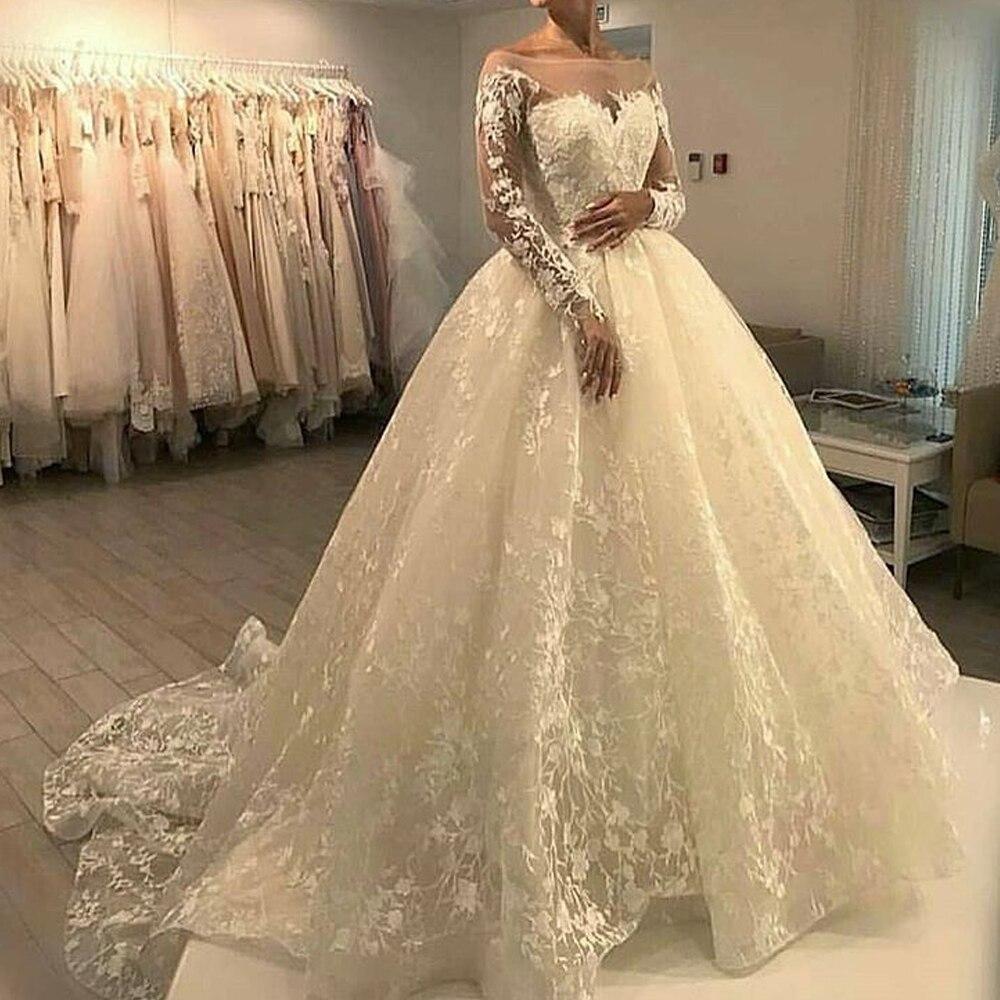 vestido de noiva Long Sleeve Ball Gown Wedding Dresses 20 Lace Sheer Boat  Neck Bridal Gowns Custom Made gelinlik