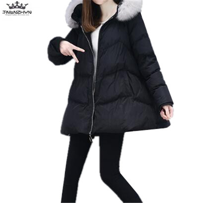 2017 New Winter Women Coat Warm Fur Collar Down Cotton Jacket Thicken Hooded Winter Cotton Jacket Fashion Warm Coats Y684 women down cotton jacket 2017 new detachable fur collar hooded down cotton winter coat solid warm feather outerwear coats fp0091
