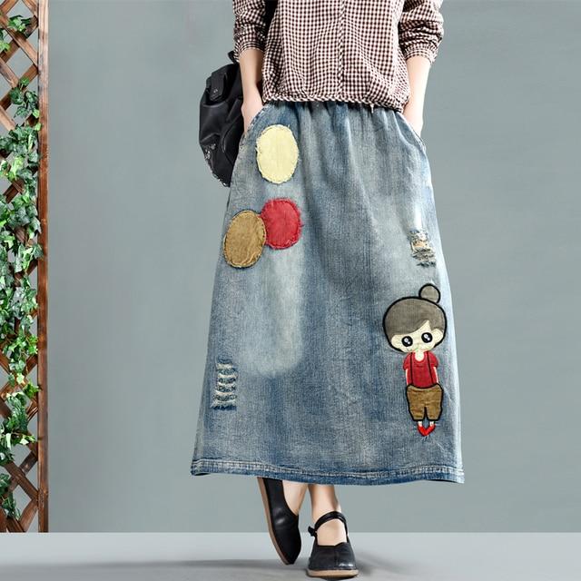 Spring Skirt Women Loose Elastic Waist Denim Skirt Ladies New Casual pocket Embroidery Character Bleached hole Streetwear Skirt