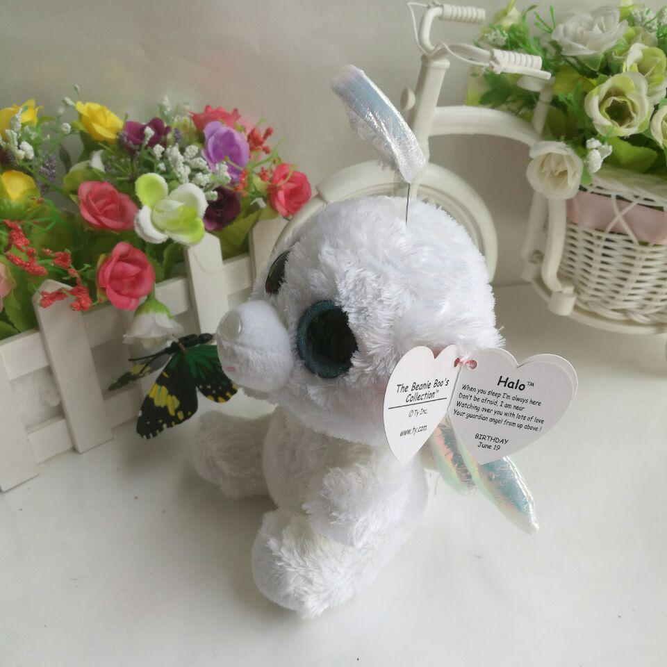 505a0bb4e22 Halo bear TY BEANIE BOOS 1PC 15CM BIG EYES Plush Toys Stuffed animals  children toy SOFT TOY white bear angel bear home decor -in Stuffed   Plush  Animals ...