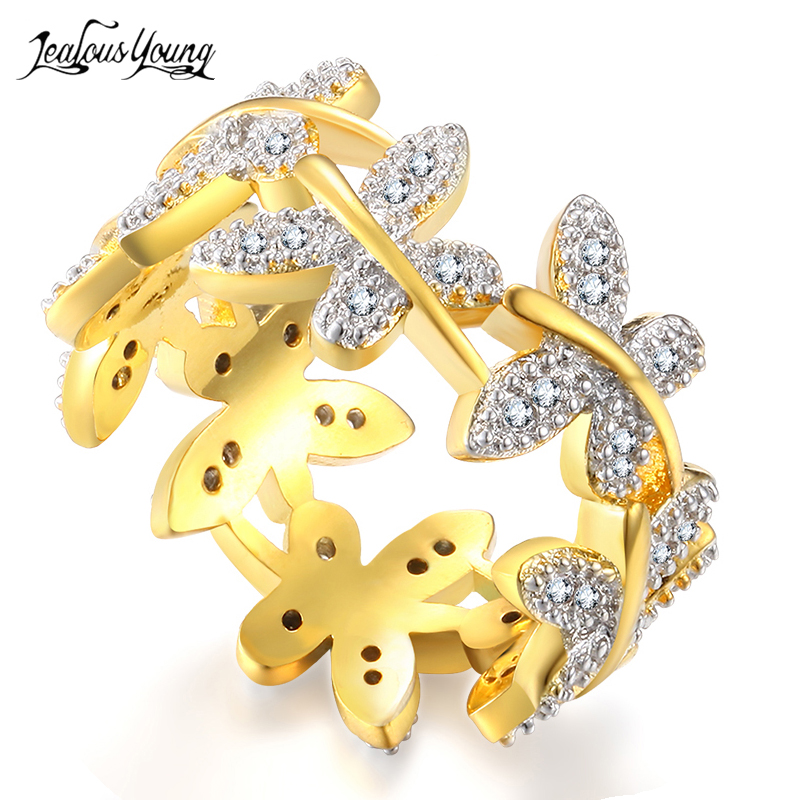 Luxury Butterfly Shape Zircon Gold Color Rings for Women Fashion Crystal Engagement Ring Party Jewelry Gift anel anillos mariposa en plata anillo