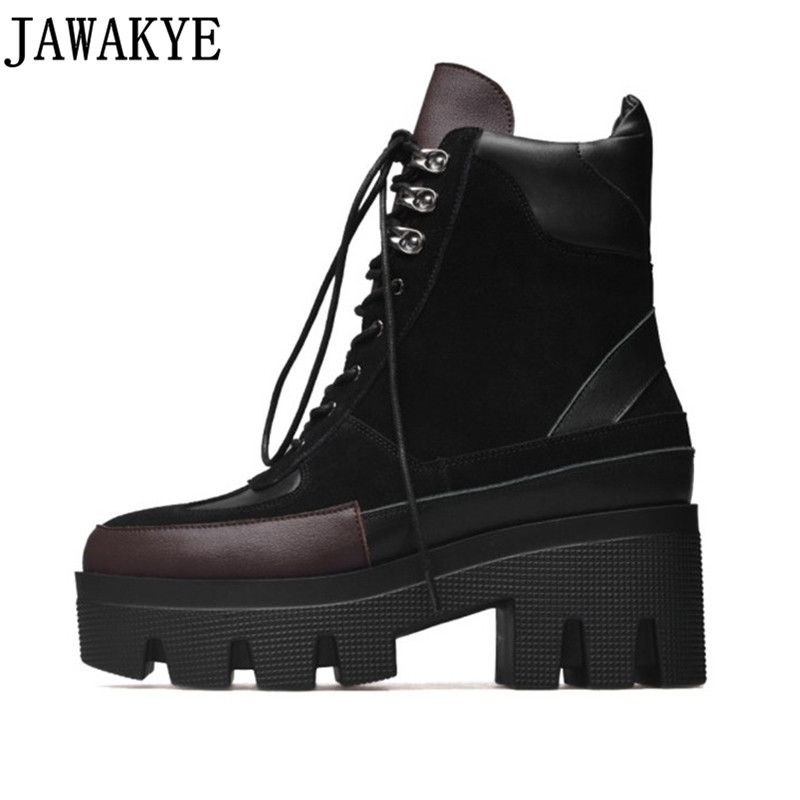 2018 Fashion High Top Casual Shoe Lace up Platform wedge heel ankle Boots Women patchwork genuine leather Short Botas Mujer new 2018 women genuine leather lace fashion platform wedge high heels shoes women lace up hidden wedges ankle boots patchwork