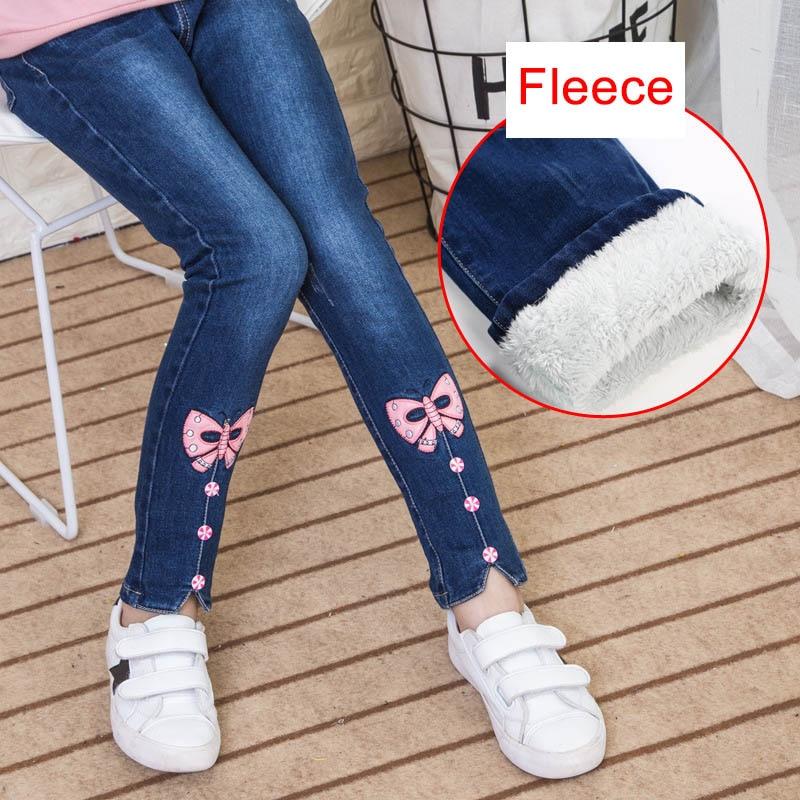 Kids Girls Winter Warm Thick Fleece Leggings Child Cotton Denim Trousers//Pants