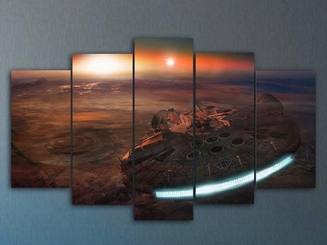 5 Panele Sokół Millenium Star Wars Płótnie Malarstwo Home Decoration