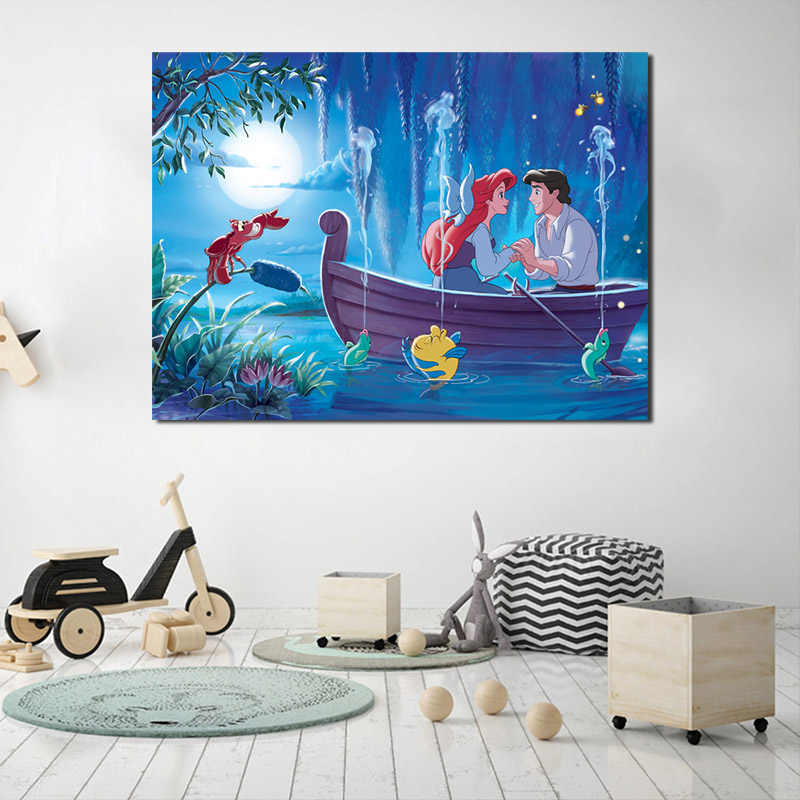 Kucuk Denizkizi Duvar Kagidi Duvar Prenses Ariel Tuval Posterler