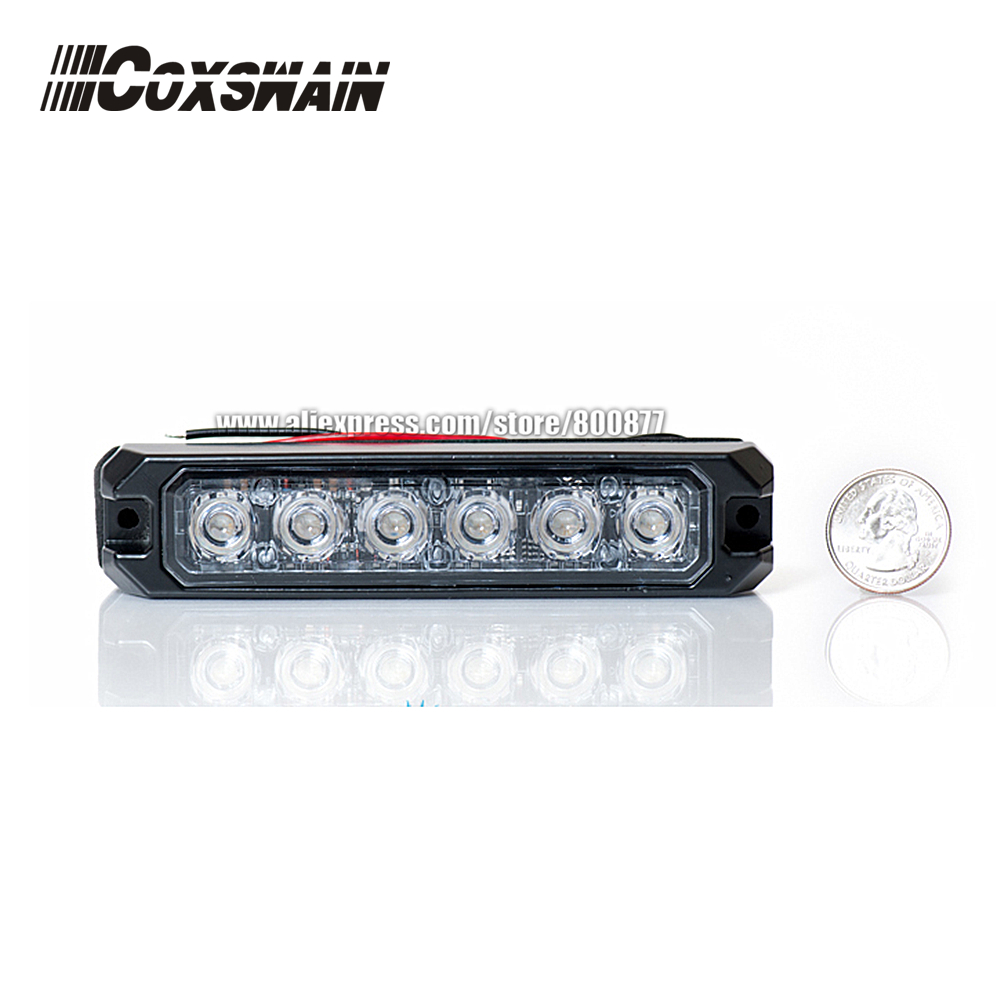 T6 Car External Warning Lights LED Grill Surface Mount Lighthead , DC12V Or 24V, 22 Patterns, 3W Each LED, Waterproof,