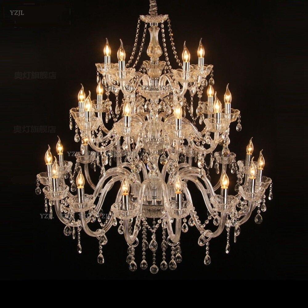 Pendentif en cristal de trois étages lustre lumières hôtel Villa grand duplex escalier hôtel Villa lumière cristal pendentif lustre