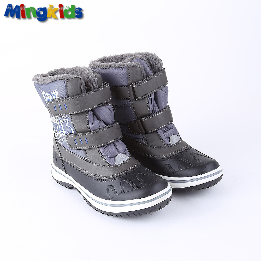 Mingkids snow boots for boy winter shoes anti-slip Mid-Calf waterproof warm plush fleece lining 3M Rubber European size grey