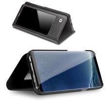 QIALINO moda hakiki deri Flip Case Samsung Galaxy S8 ve S8 artı ultra ince saf el yapımı çantası telefon kapağı 5.8/6.2 inç