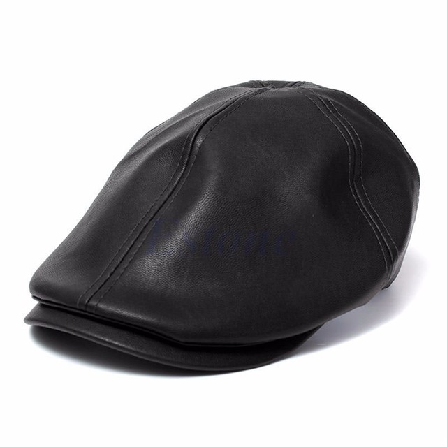 c1cc6fbe7951f Mens Ivy Cap Faux Leather Bunnet Newsboy Beret Cabbie Gatsby Flat Hat-in  Berets from Apparel Accessories on Aliexpress.com