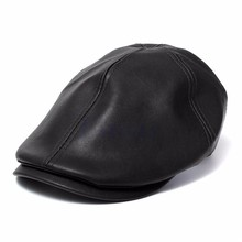 Mens Ivy Cap Faux Leather Bunnet Newsboy Beret Cabbie Gatsby Flat Hat