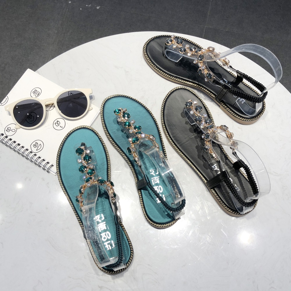 HTB1gXO6MjTpK1RjSZKPq6y3UpXaX Rhinestone Sandals Women Sandals Fashion Summer Shoes Women Rome Gladiator Casual flats Sandals Beach Shoes Female Zapatos #730
