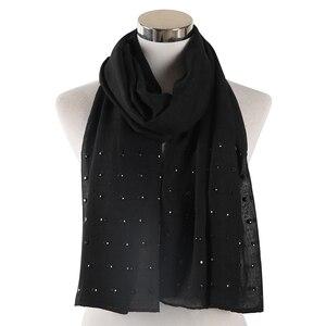 Image 2 - FOXMOTHER Vrouwen Wit Roze Effen sjaals Met bead studs sjaals shawl Wrap moslim hijab Sjaals stola foulard femme 2019