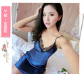 Ladies Sexy Silk Satin Night Dress Sleeveless Nighties V-neck Nightgown Nightdress Lace Sleepwear