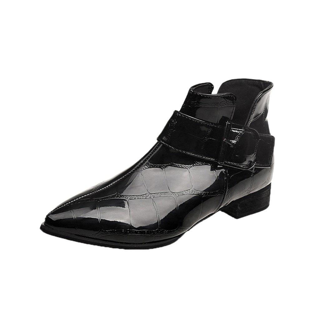 Cuero Invierno Señoras Tamaño Zapatos Botines Con Martin Otoño Mujer 35  Grueso Moda Europea Negro Sólidas ... a47b529984ca