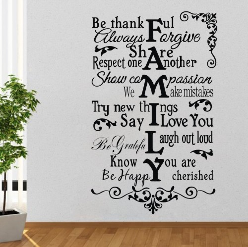 Family rule quotes wall sticker proverb words stickers art mural decals diy home decor decoration poster