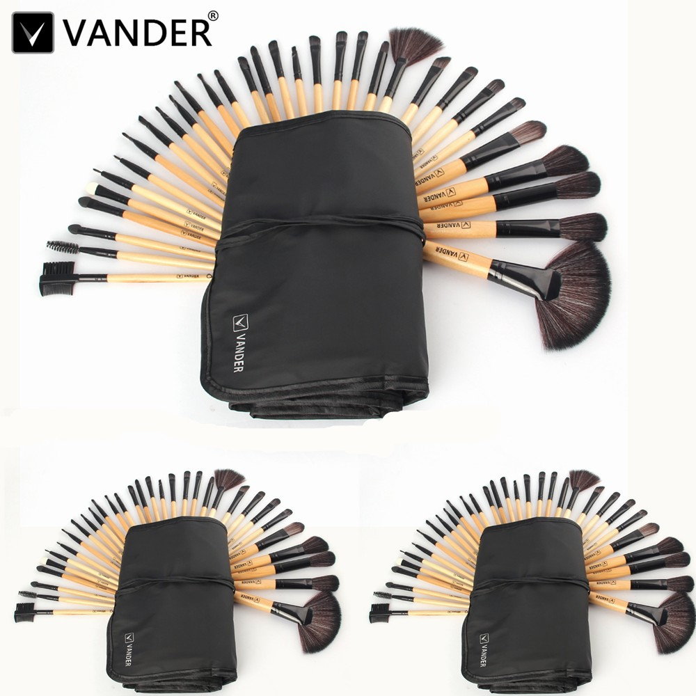 Vander Professional 3Lots / 32Pcs Makeup Brushes Set Foundation Cosmetic Powder Face Toiletry Brushes Make Up Brushing Kits Bag vander 10sets lot 10pcs professional