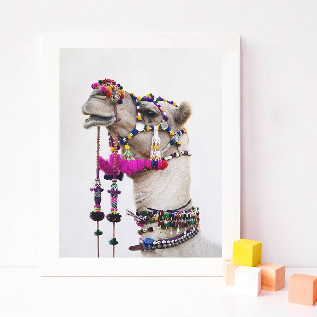 Camel Prints Desert Animal Nursery Wall Art Canvas Painting Pictures Bohemian Poster Photography Prints Home Room Wall Decor
