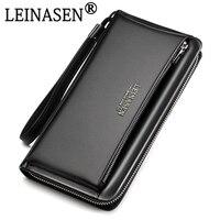 Genuine Leather Luxury Brand Men Wallets Long Men Purse Wallet Male Mobile Phone Clutch Business Wallet Coin Casual Handy Bag