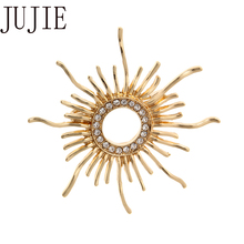 JUJIE Fashion Crystal Gold Sun Pins For Women Brooches Wedding Lapel Brooch Flower Jewelry Dropshipping jujie fashion crystal deer brooches coat clothing scarf lapel pins elk corsage fashion jewelry