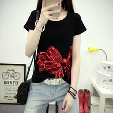 Summer Style Sequins Red Bow Cotton T-shirt Casual Slim Short Sleeve Black/White/Gray Women's Shirt Tops Plus Size
