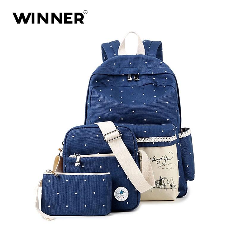 WINNER Women Backpack With Windmil School Bags For Teenagers Girls Daily Backpacks Star Printing Bookbag Cute