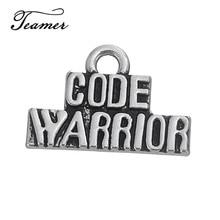 Teamer 20 unids/lote DIY, encantos de letras Warrior con código de Color plata antigua izada para la fabricación de collares y pulseras DIY