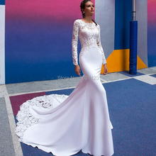 Vestidos De novia De sirena, manga larga, cuello redondo, encaje, apliques largo hasta el suelo, corte, tren, Vestido De novia, 2021
