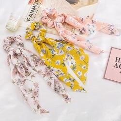 Новинка, шарф для волос с цветочным принтом для девочек, элегантные резинки для волос, резинка для хвоста волосы резинки, аксессуары для