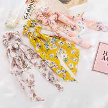 New Girl Print Flower Hair Scarf Scrunchies Elegant Rubber Hair Ties Ponytail Elastic Hair Bands Hair Accessories For Women(China)