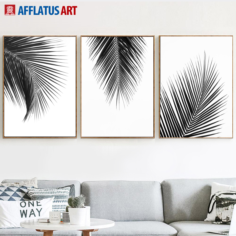 US $3 23 43% OFF|Natural Palm Leaves Wall Art Canvas Painting Nordic  Posters And Prints Black White Canvas Pictures For Living Room Wall  Decor-in