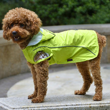 Pet Dog Clothes Raincoat High Quality Waterproof Material Jacket with Refliective Stripes D-ring of Leash for Dogs