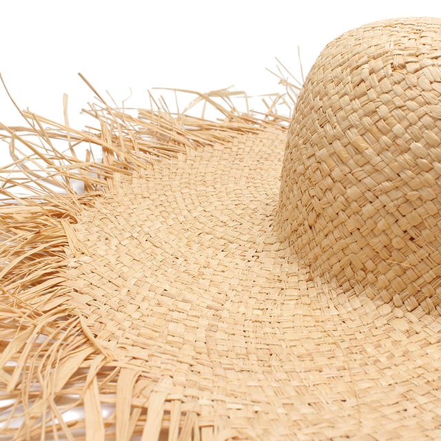 Women Sun Hat With A Large Brim Raffia Straw
