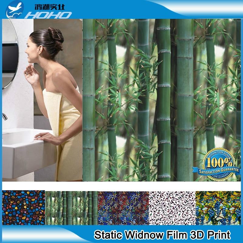 0.92x3 m 3D numérique imprimé bambou verre fenêtre autocollant statique s'accrochent Film vie privée vitrail Film
