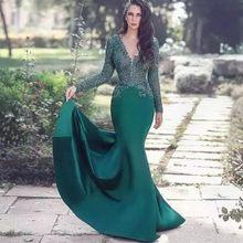 677a83e01c5 2018 темно-зеленый Саудовская Арабский Трубы Вечерние платья Кружево одежда  с длинным рукавом Дубай Скромные Вечерние платье спе.