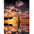 Home Decor Diamond Mosaic Full Gear Sunset And Sailboat Picture Of Rhinestones Cross-Stitch Diamond Embroidery Needlework SK453