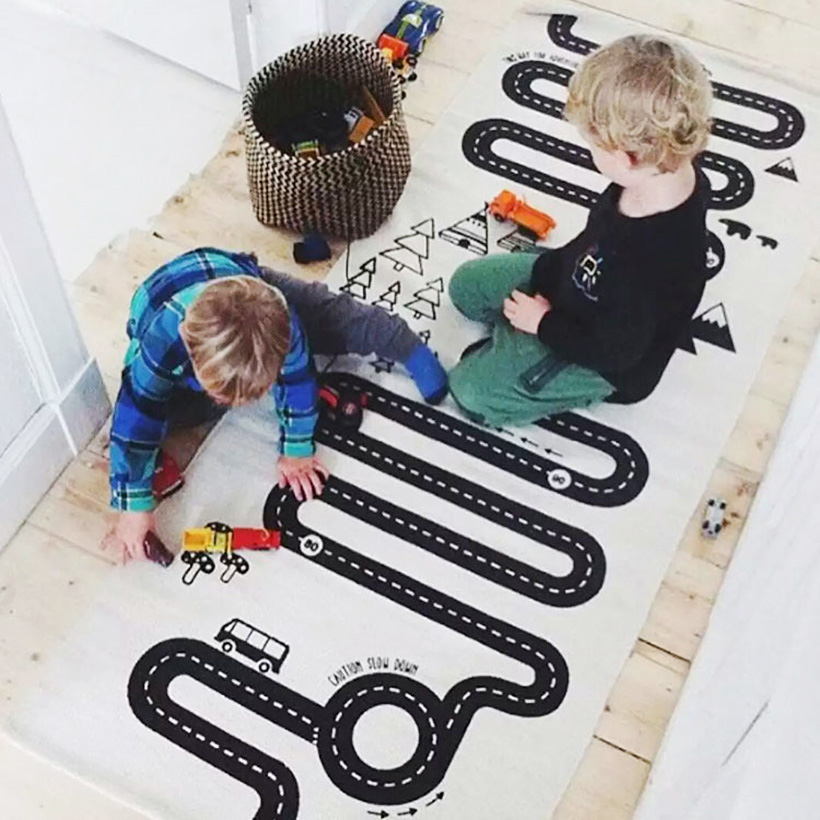 Baby Track Play Game Mat 70X170cm Kids Activity Play Gym Mats Home Children Infant Adventure Rug Road Carpet Crawling Blanket