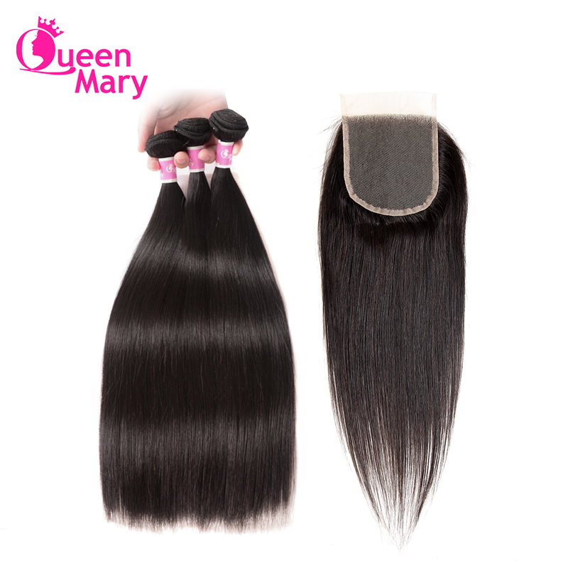 Queen Mary Malaysian Hair Bundles With Closure Straight Hair Bundles With Closure Human Hair 3 Bundles With Closure Non Remy ...
