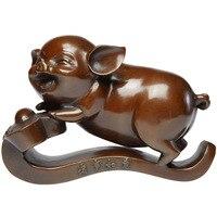 Чистое медное украшение свинья гостиная медная свинья милый Зодиак Home домашнее украшение сокровище свинья ремесло подарки фэншуй деньги