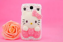 100% Handmade Cute Hello Kitty Cabochon Rhinestones Cell phone Case for samusng note 5/4 case for galaxy s6/s7 edge plus case(China)