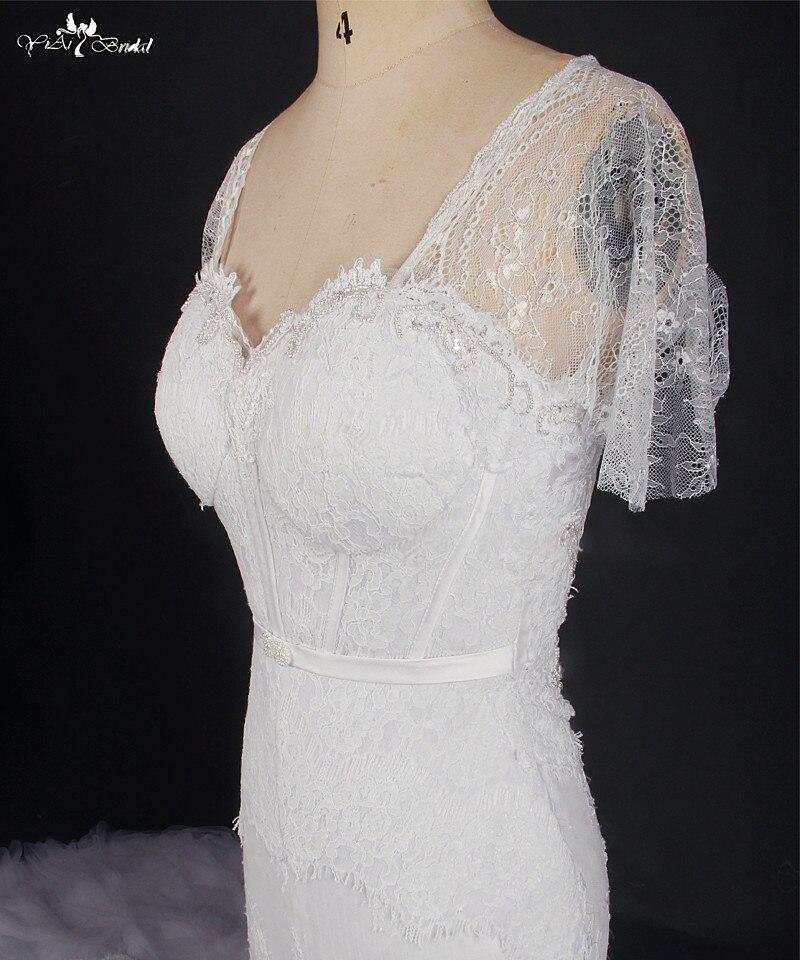 Image 4 - RSW769 Short Sleeve White Lace Cathedral Train Mermaid Wedding Dresses Real Photowedding dress real photoreal photowedding dress real -