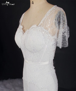 Image 4 - RSW769 Short Sleeve White Lace Cathedral Train Mermaid Wedding Dresses Real Photo