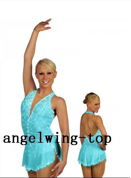 Синее платье для фигурного катания для женщин, горячая распродажа, платье для девочек, зимнее платье для катания на коньках, платья с криста