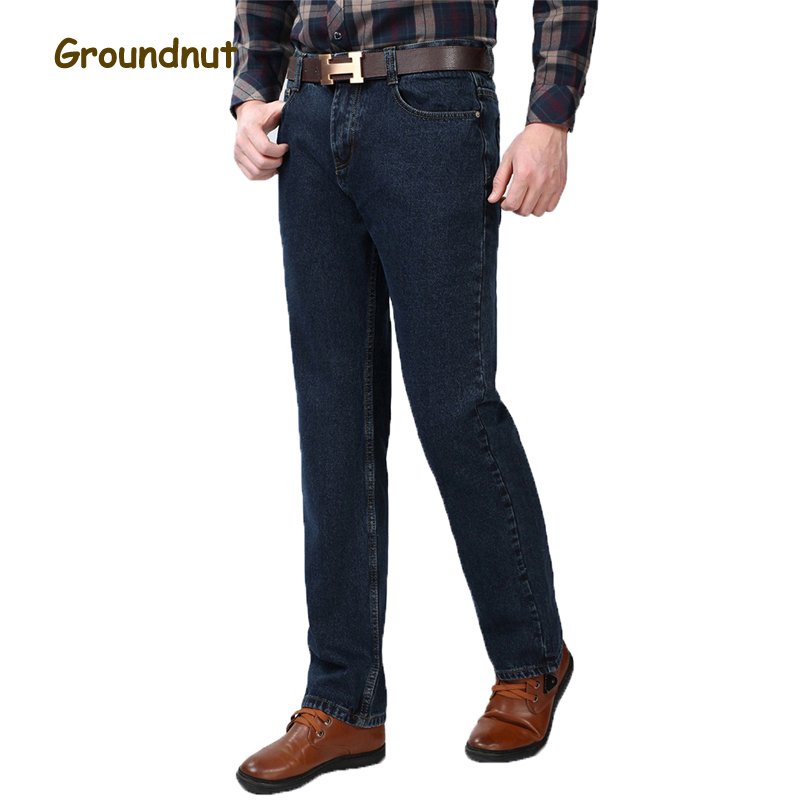 Groundnut Brand 100% Pure Cotton Business Straight Leg High Waist Long Jeans Men Denim Pants Male Casual Trousers 2017 Fashion men s cowboy jeans fashion blue jeans pant men plus sizes regular slim fit denim jean pants male high quality brand jeans