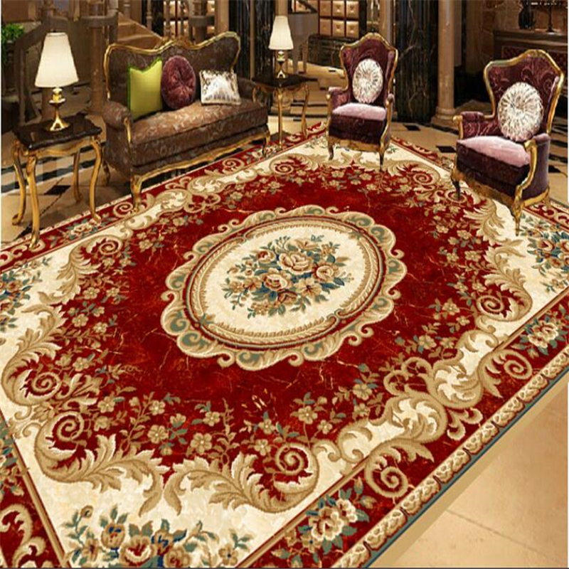 beibehang Red European carpet pattern floor waterproof self-adhesive 3d flooring painting wallpaper papel de parede wall paper self adhesive wall paper furniture marble 3d wallpaper waterproof wall mural papel bathroom kitchen papel de parede adesivo