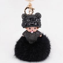 Nueva Lindo Muñecas de la Historieta Llavero Rhinestone Del Embutido Monchichi Bowknot pom pom de la Bola de Piel de Conejo Mujer Pendiente Del Encanto del Bolso Del Sostenedor Del Anillo