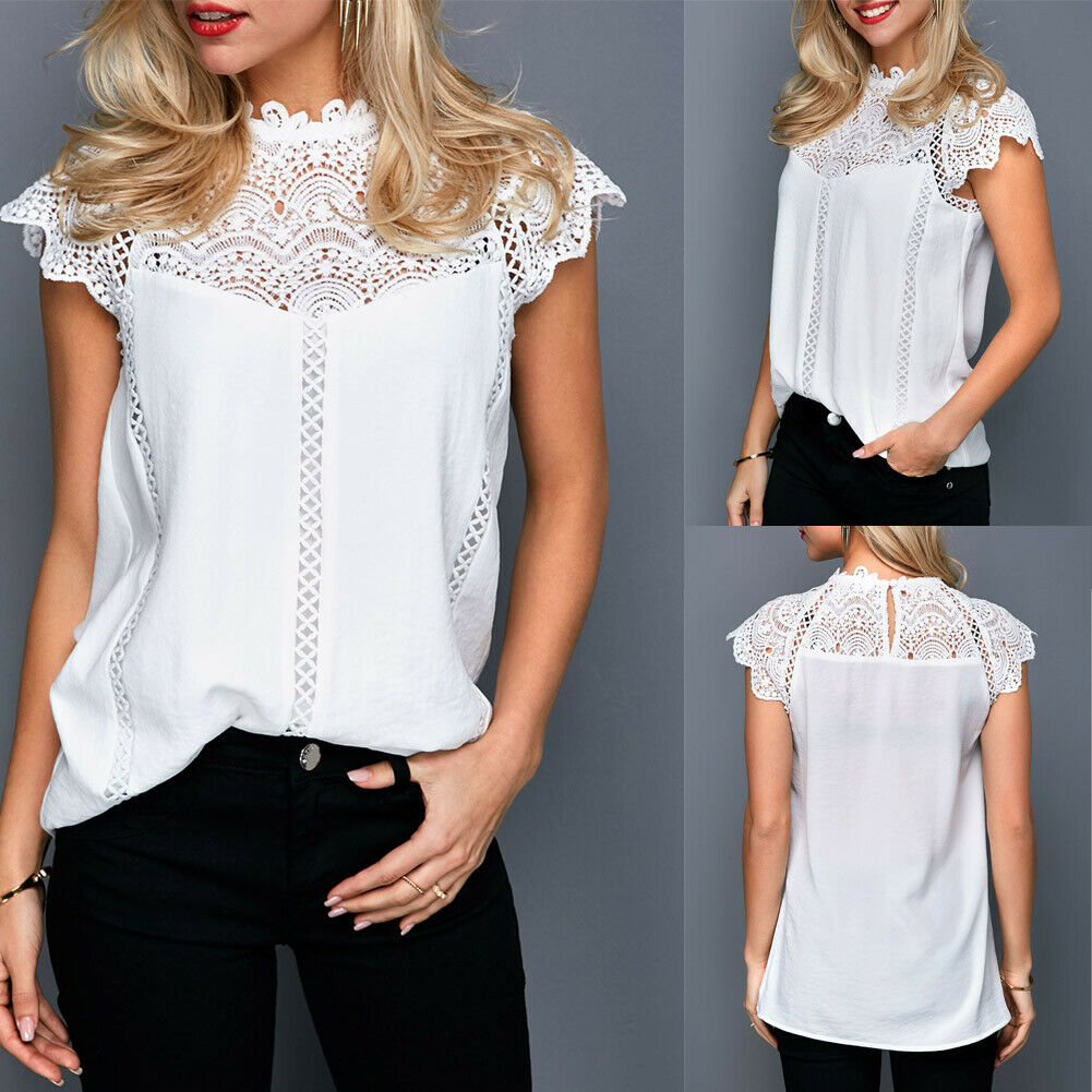 arrival Summer Womens Casual Tops   Blouse   Short Sleeve High Neck Lace   Shirt   Chiffon New