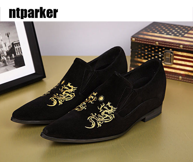 ntparker Free shipping luxury man leather shoes Black Casual man shoes handmade Excellent Design FlATS Shoes Man! EU38-46